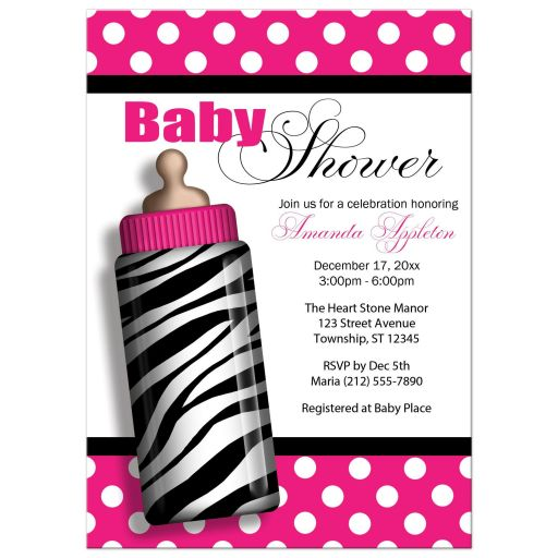 Baby Shower Invitations   Zebra Print Baby Bottle Hot Pink