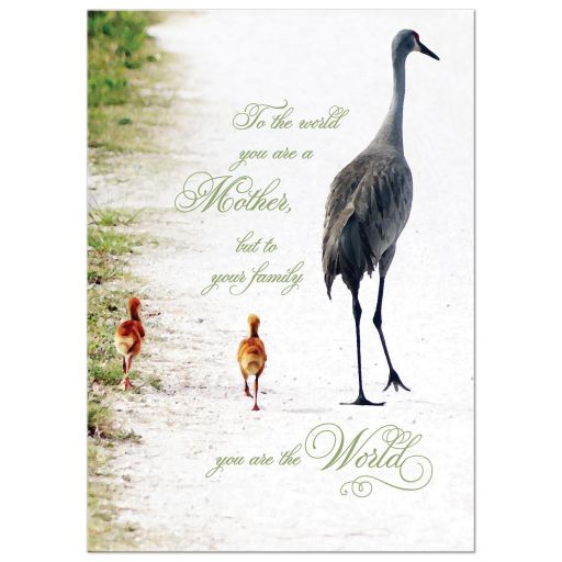 Best Mother's day art print with loving verse and crane mother and babies