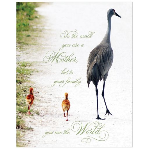 Great Mother's day art print with loving verse and crane mother and babies