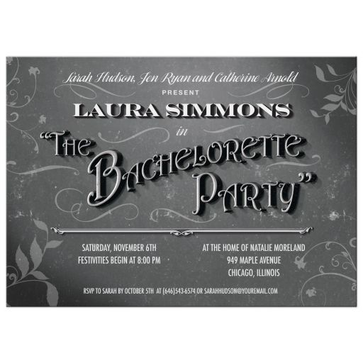 Bachelorette Party Invitation - Vintage Movie Title Screen