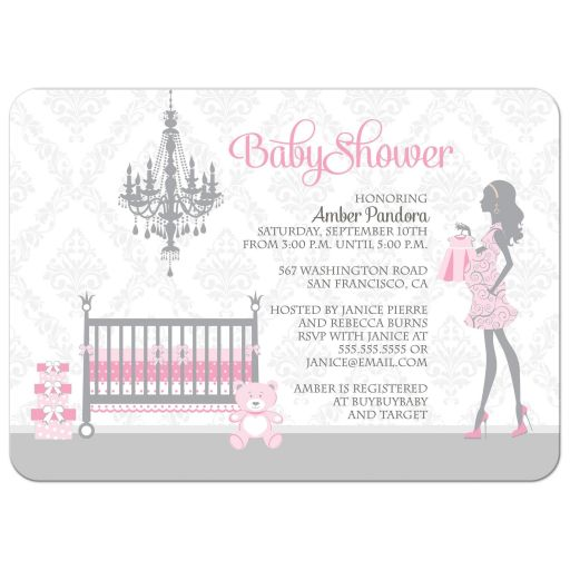 Pink and gray girl nursery baby shower invitations