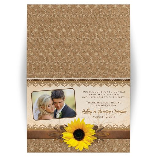 Rustic lace, burlap, wood and sunflower country wedding photo thank you card