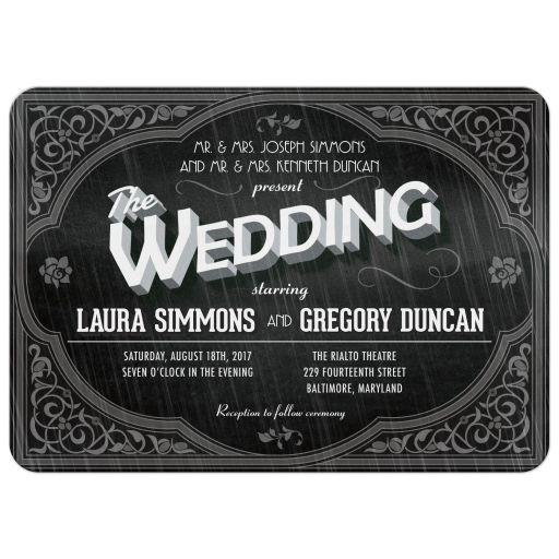 Wedding Invitation - Vintage Movie Title Screen