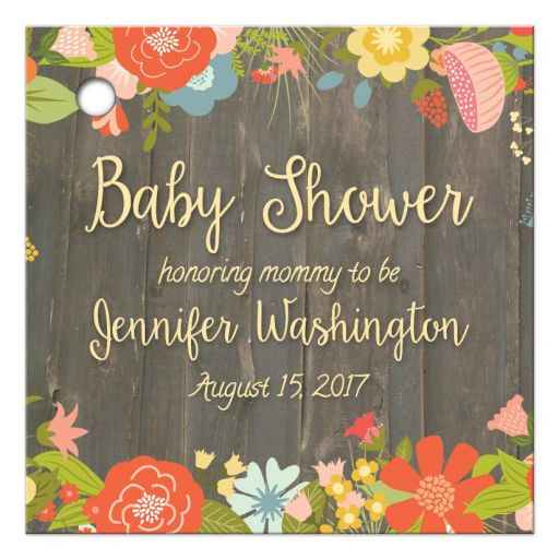 Rustic floral personalized baby shower favor gift tags