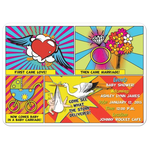 Pop art comic book comic strip funny stork sip and see baby shower invitation front