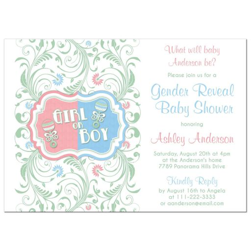 Gender Reveal Invitation Pink Blue Baby Rattle Floral
