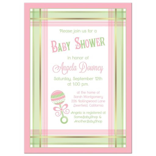 Pink and green plaid and baby rattle baby girl baby shower invitation front