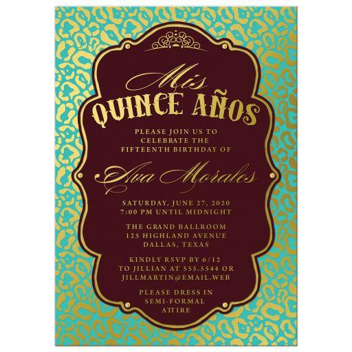 Aqua Blue & Gold Quinceañera Invitations front