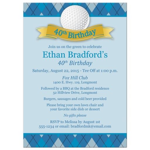 Best 40th birthday party invitation with golf theme