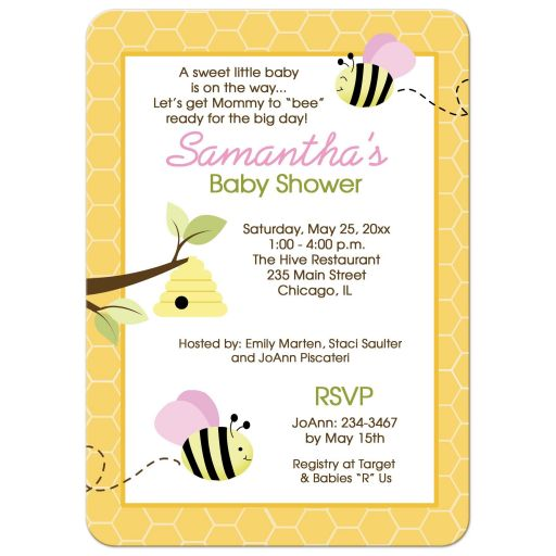Bumble Bee Girl Baby Shower Invitations