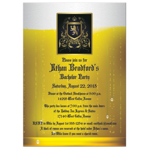 Best bachelor party invitation with beer glass