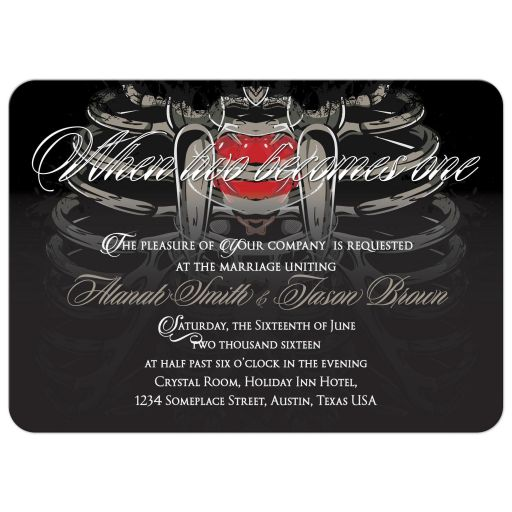 Two hearts Skeletons Save the Date Wedding