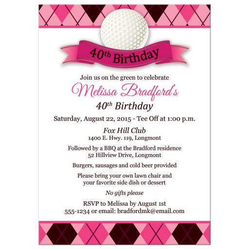 Best pink and black 40th birthday invitation for a woman golfer