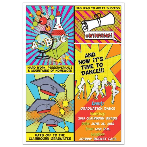 Pop art comic book or comic strip style graduation party invitation front