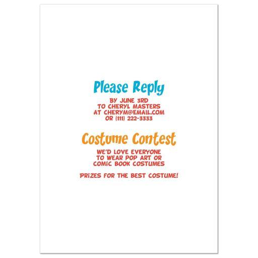 Pop art comic book or comic strip style graduation party invitation back