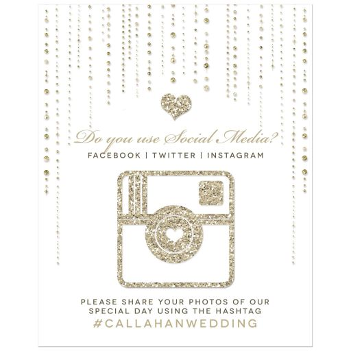 Wedding Hashtag Sign - Gold Glitter Look Streaming Gems