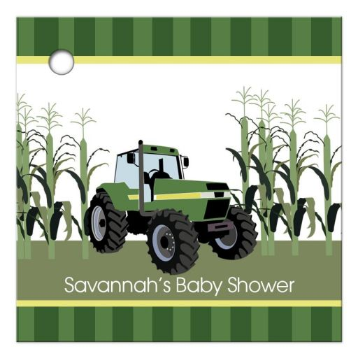 Green Tractor Customized Gift Tag / Favor Tag