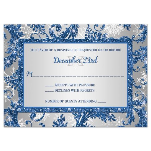 Best winter wonderland Bat Mitzvah RSVP card in royal blue and silver