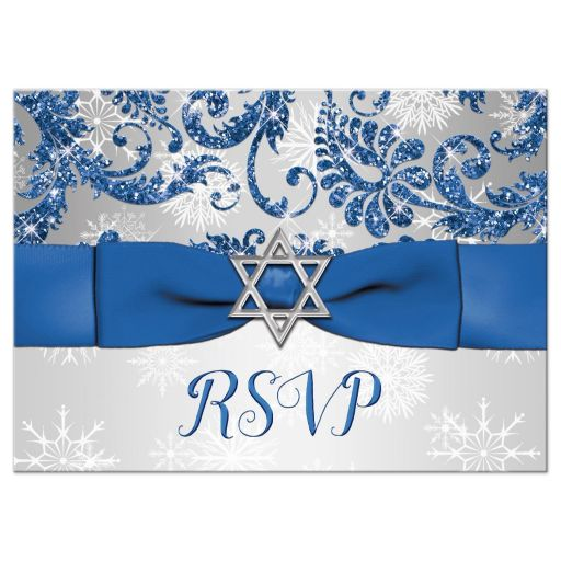 Best affordable bat mitzvah reply cards in royal blue