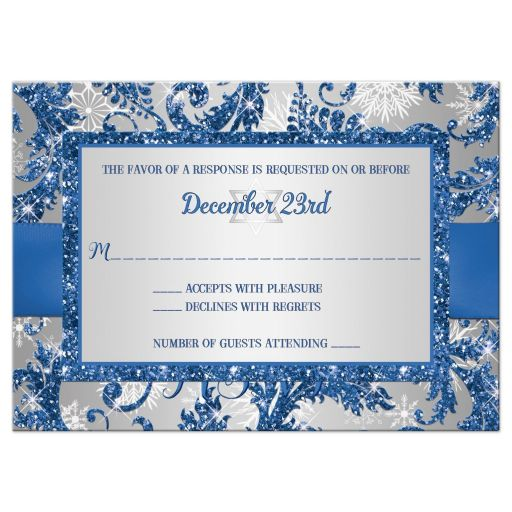 affordable royal blue and silver bat mitzvah rsvp card with ribbon