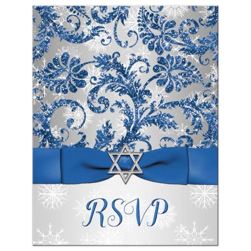 Best royal blue and silver bat mitzvah rsvp card with snowflakes and ribbon