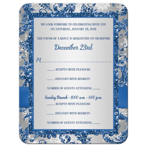 great affordable bat mitzvah reply card in blue and silver with white snowflakes and bow
