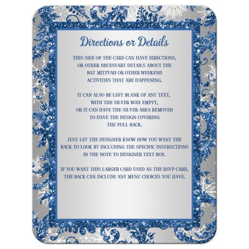 Great affordable royal blue and silver bat mitzvah enclosure card insert with white snowflakes