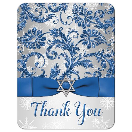 Great bat mitzvah thank you note card in royal blue and silver