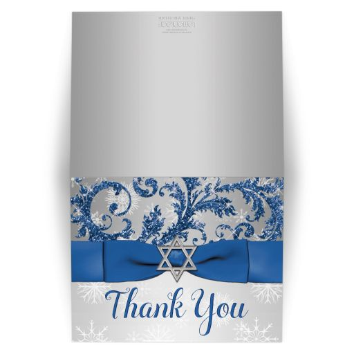 Best bat mitzvah thank you card in royal blue and silver with snowflakes and ribbon