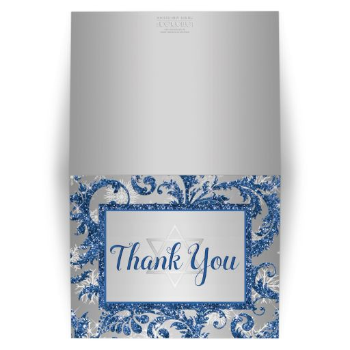Best bat mitzvah thank you card in royal blue and silver with snowflakes