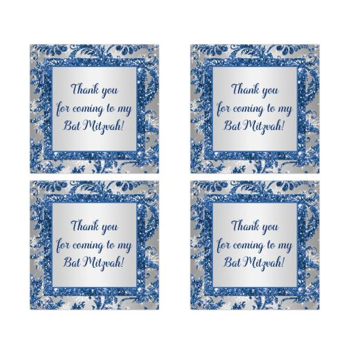Best bat mitzvah winter wonderland party favor sticker