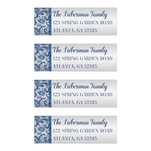 Great Bat Mitzvah return address labels in royal blue and silver with white snowflakes