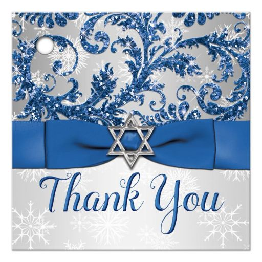 Best blue and silver bat mitzvah favor tag with white snowflakes, glitter, and ribbon