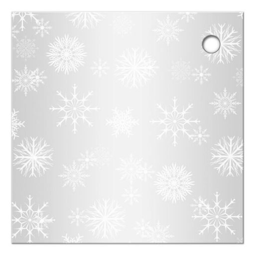 afordable blue and silver bat mitzvah favor tag with white snowflakes, glitter, ribbon, and star of david