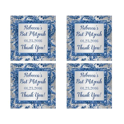 """Great 2"""" square personalized Bat Mitzvah party favor stickers for winter in blue and silver"""