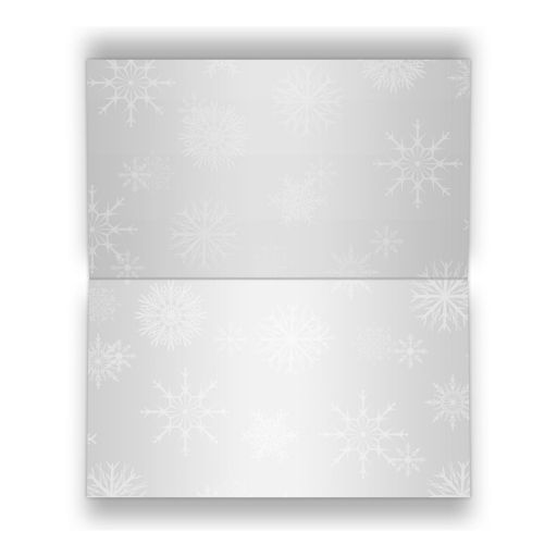 Winter wonderland folded place card in royal blue and silver grey