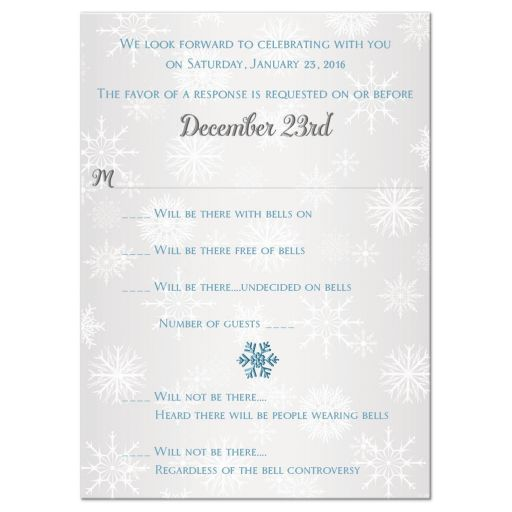 Great mad libs rsvp card in ice blue and silver with white snowflakes