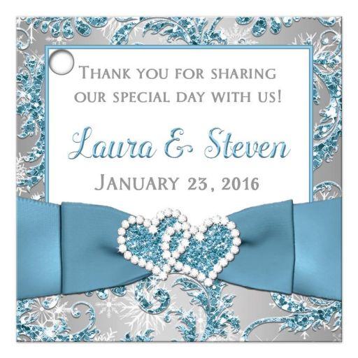 Best customized winter wonderland wedding favor tag