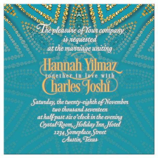Eastern Wedding Invitation Turquoise Gold