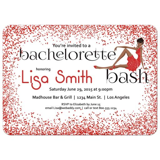 Woman of color with fancy dress and red Glitter Bachelorette Party Invitation