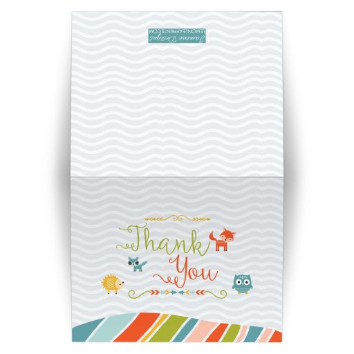 Tribal woodland creatures thank you folded card