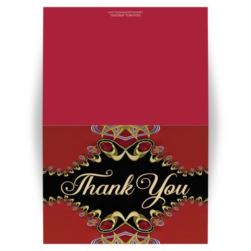 Lipstick Red Lace Thank You Card