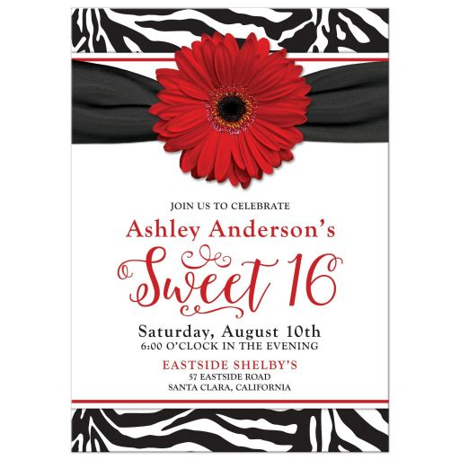 red daisy, black and white zebra print sweet 16 birthday party invitation front