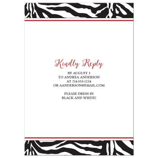 red daisy, black and white zebra print sweet 16 birthday party invitation back