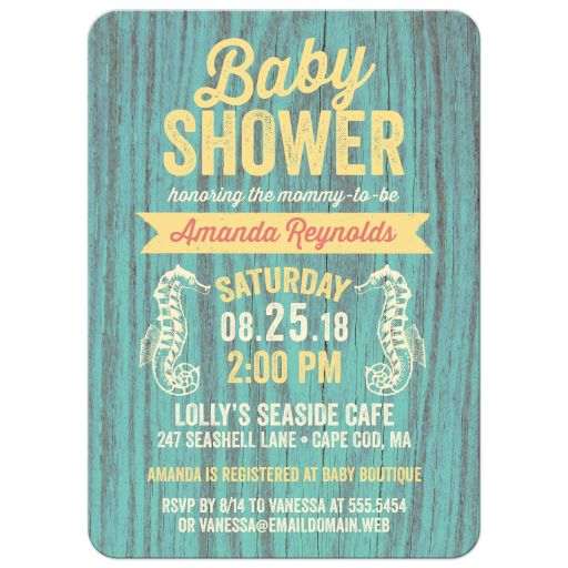 Rustic Nautical Seaside Cottage Sign Baby Shower Invitations front