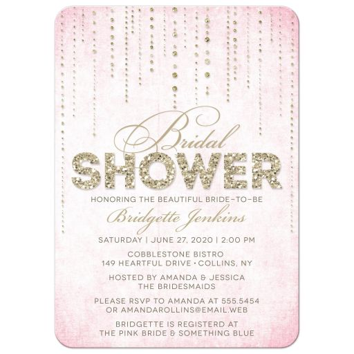Pink & Gold Glitter Look Streaming Gems Bridal Shower Invitations front