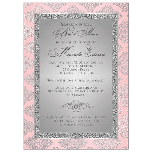 Best blush pink and silver grey bridal shower invitations