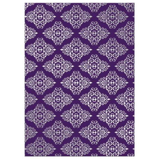 Great purple and silver gray damask wedding shower invite with glitter