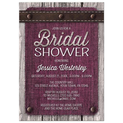 Bridal Shower Invitations - Pink Denim Wood Leather Rustic