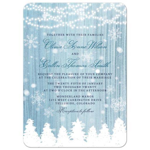 Winter Wonderland Wedding Invitations front